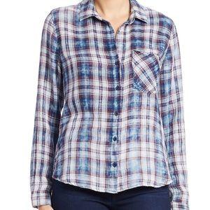 Cloth & Stone Distressed Plaid Shirt Top Women's S